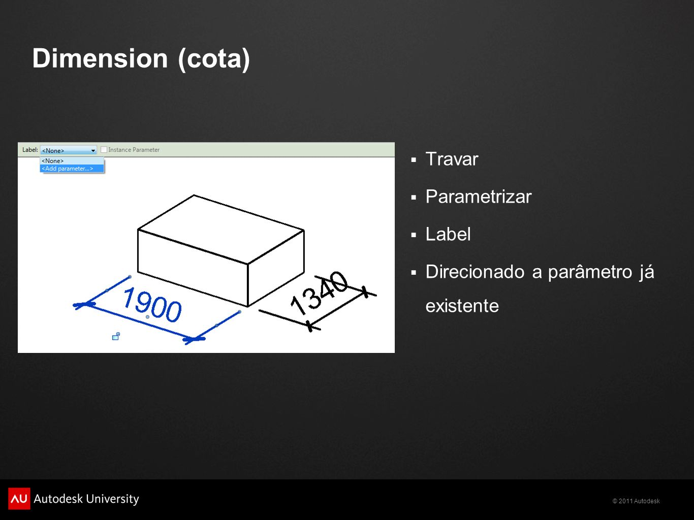 Dimension (cota) Travar Parametrizar Label
