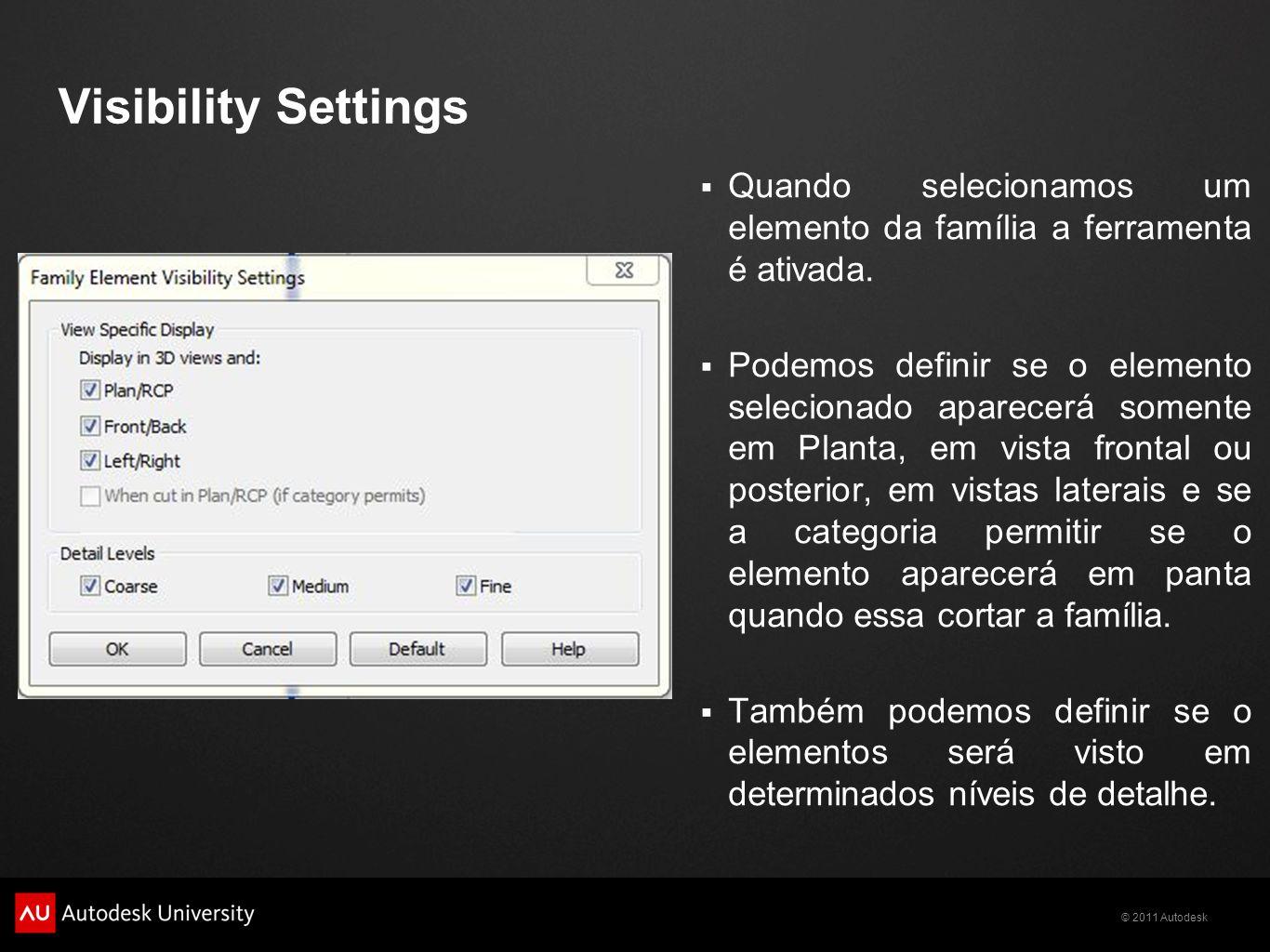 Visibility Settings Quando selecionamos um elemento da família a ferramenta é ativada.