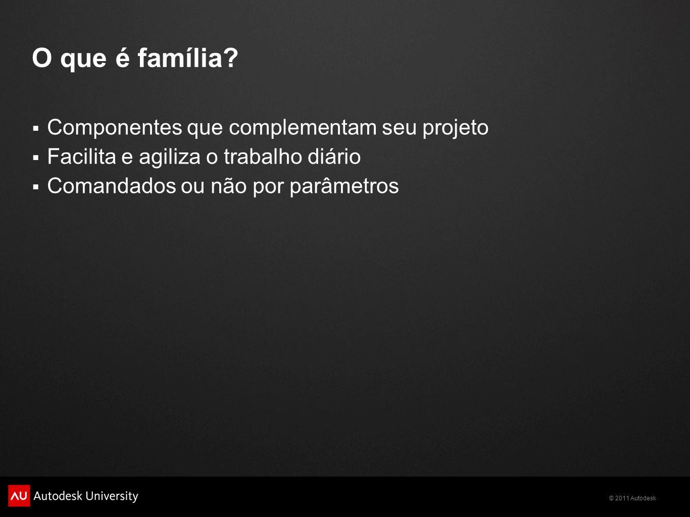 O que é família Componentes que complementam seu projeto