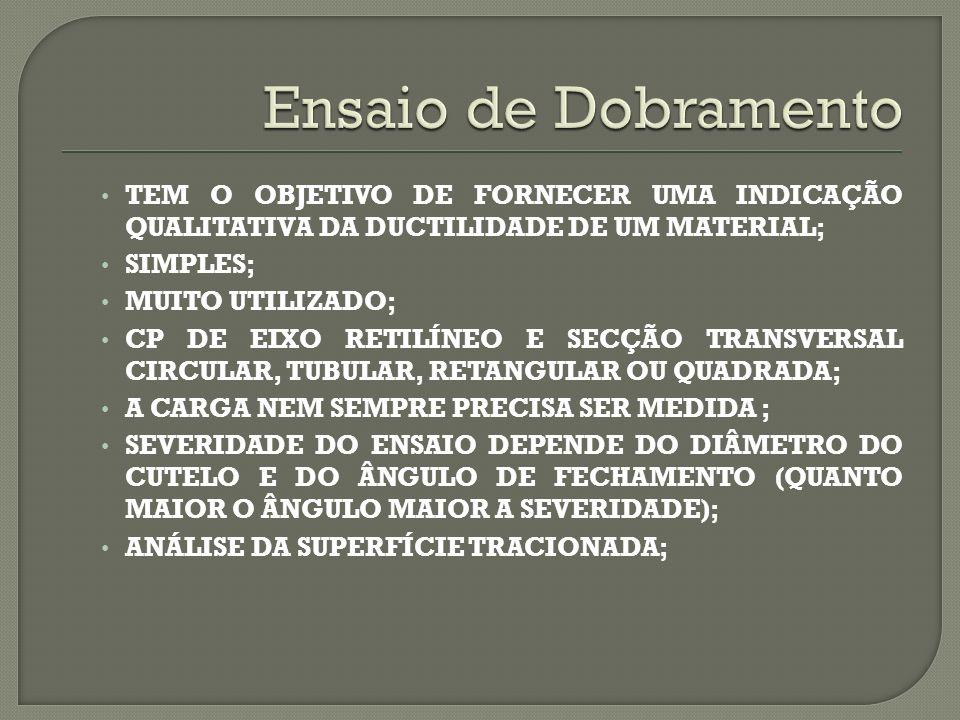Ensaio de Dobramento TEM O OBJETIVO DE FORNECER UMA INDICAÇÃO QUALITATIVA DA DUCTILIDADE DE UM MATERIAL;