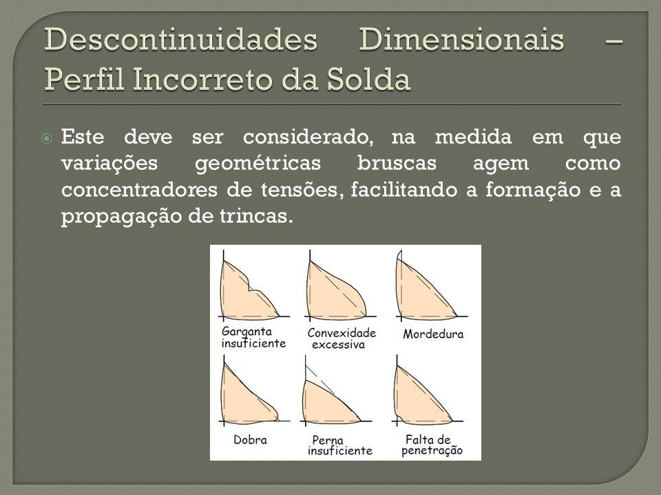Descontinuidades Dimensionais – Perfil Incorreto da Solda