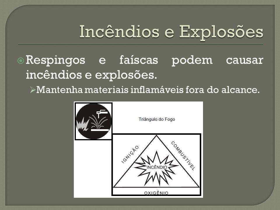 Incêndios e Explosões Respingos e faíscas podem causar incêndios e explosões.