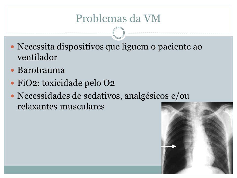 Problemas da VM Necessita dispositivos que liguem o paciente ao ventilador. Barotrauma. FiO2: toxicidade pelo O2.