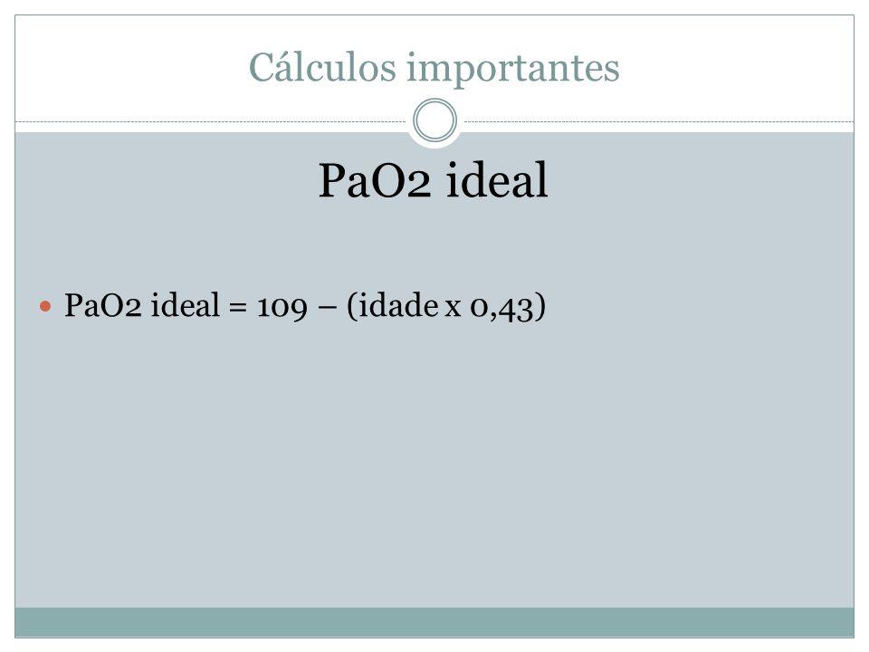Cálculos importantes PaO2 ideal PaO2 ideal = 109 – (idade x 0,43)