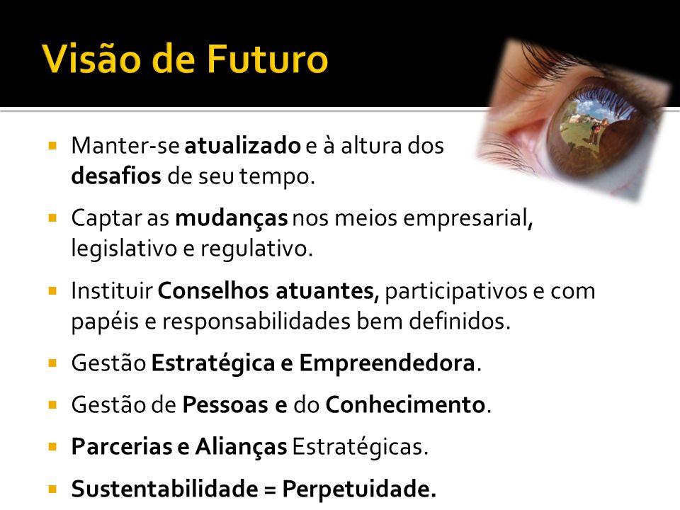 Visão de Futuro Manter-se atualizado e à altura dos desafios de seu tempo. Captar as mudanças nos meios empresarial, legislativo e regulativo.
