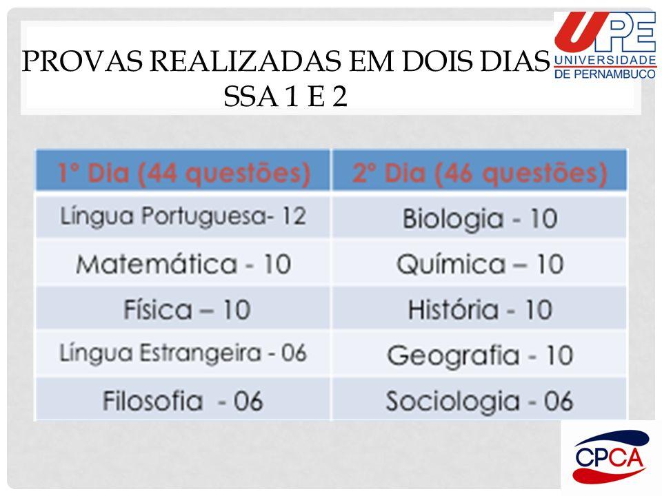 Provas realizadas em dois dias SSA 1 e 2