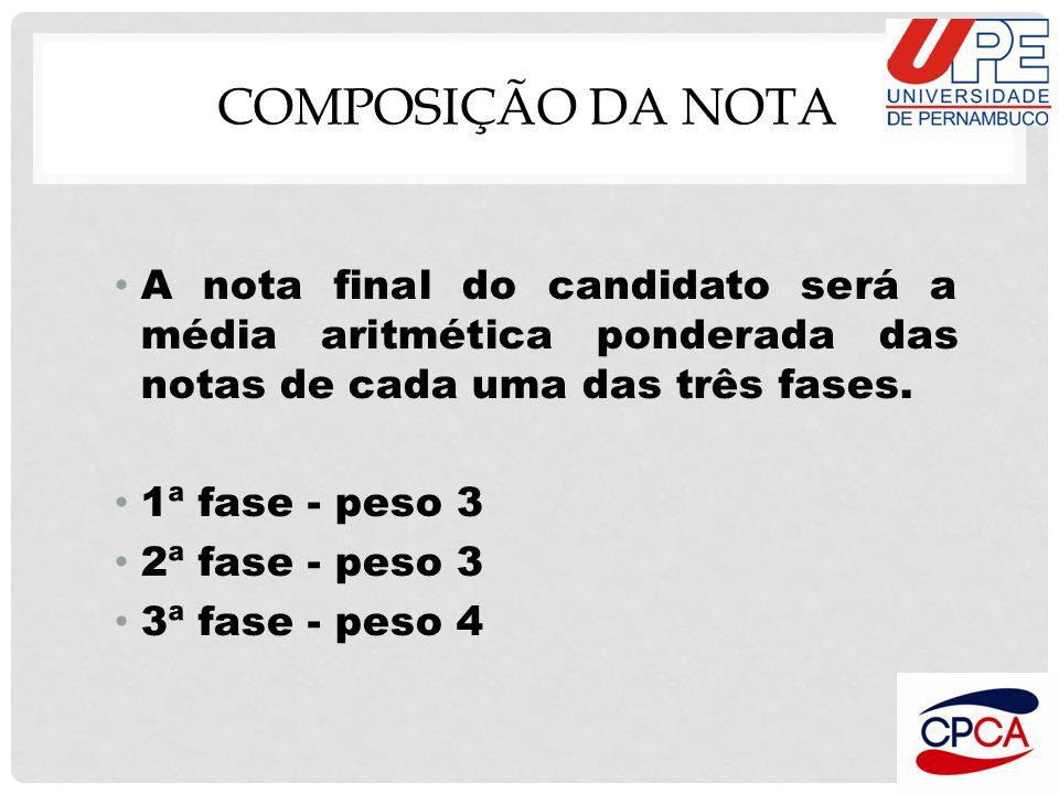 COMPOSIÇÃO DA NOTA A nota final do candidato será a média aritmética ponderada das notas de cada uma das três fases.