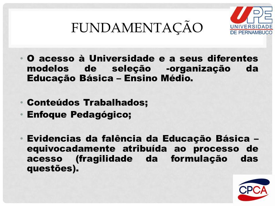 Fundamentação O acesso à Universidade e a seus diferentes modelos de seleção -organização da Educação Básica – Ensino Médio.