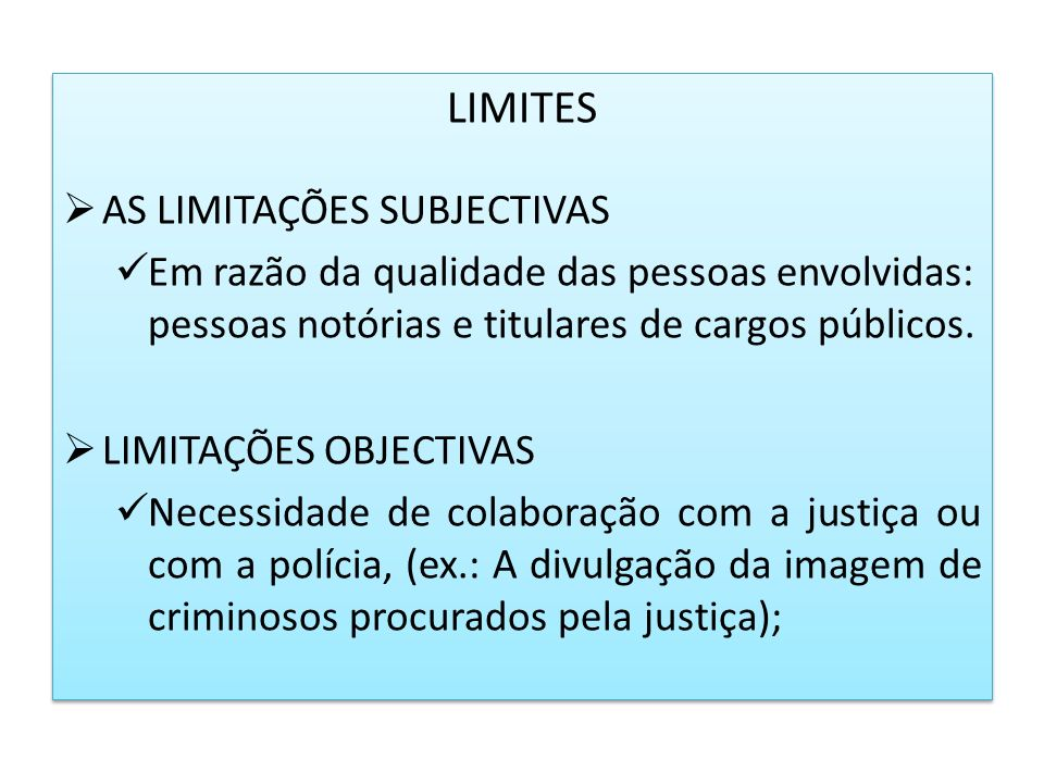 LIMITES AS LIMITAÇÕES SUBJECTIVAS