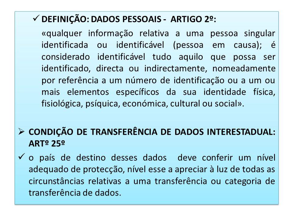DEFINIÇÃO: DADOS PESSOAIS - ARTIGO 2º: