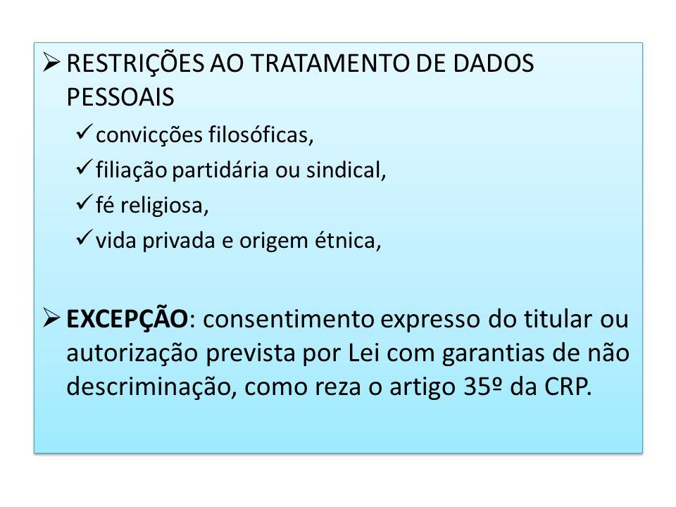 RESTRIÇÕES AO TRATAMENTO DE DADOS PESSOAIS