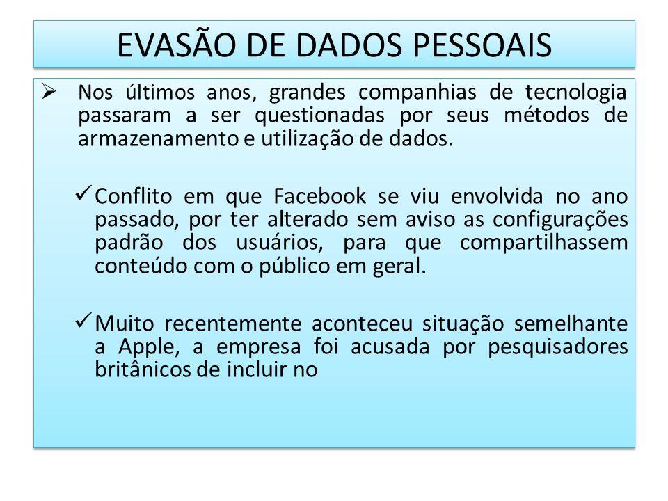 EVASÃO DE DADOS PESSOAIS