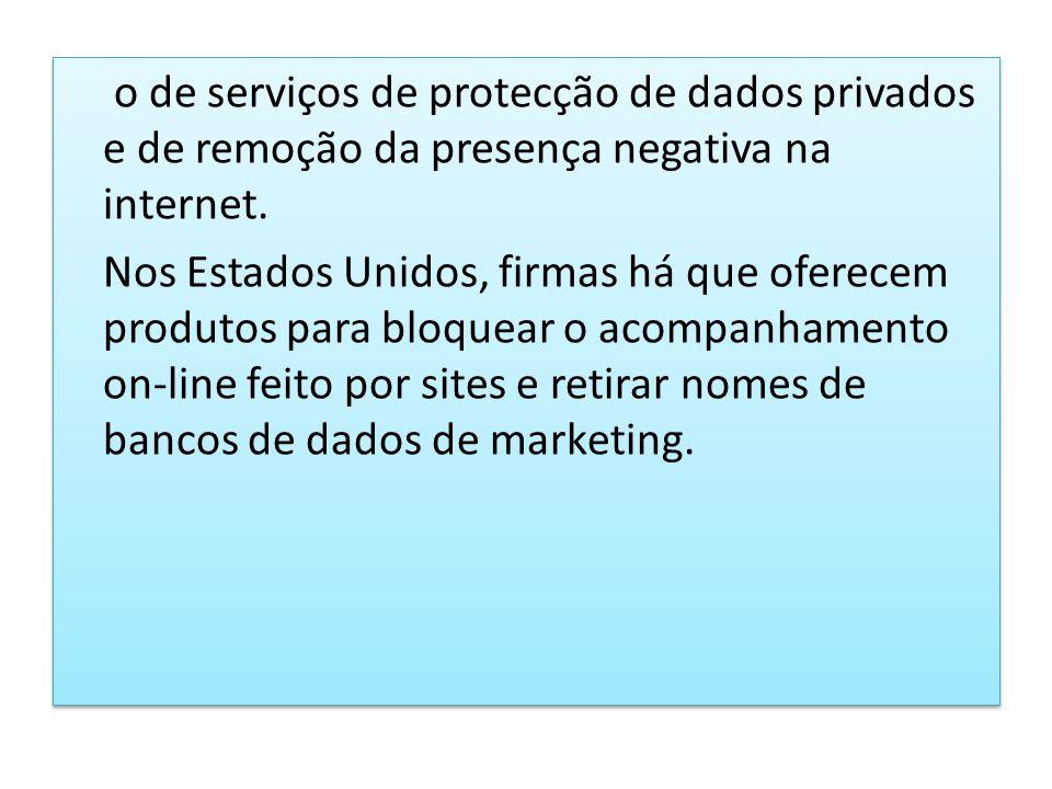 o de serviços de protecção de dados privados e de remoção da presença negativa na internet.
