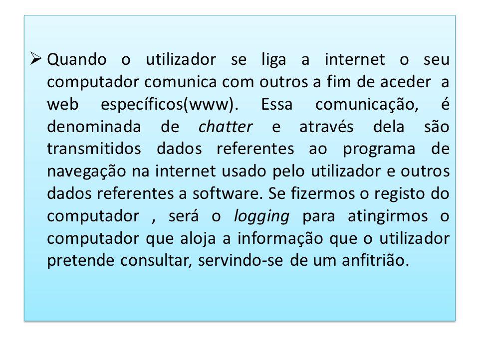 Quando o utilizador se liga a internet o seu computador comunica com outros a fim de aceder a web específicos(www).