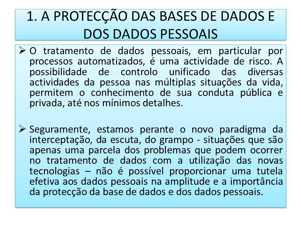 1. A PROTECÇÃO DAS BASES DE DADOS E DOS DADOS PESSOAIS