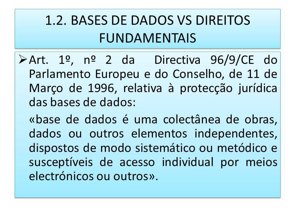 1.2. BASES DE DADOS VS DIREITOS FUNDAMENTAIS