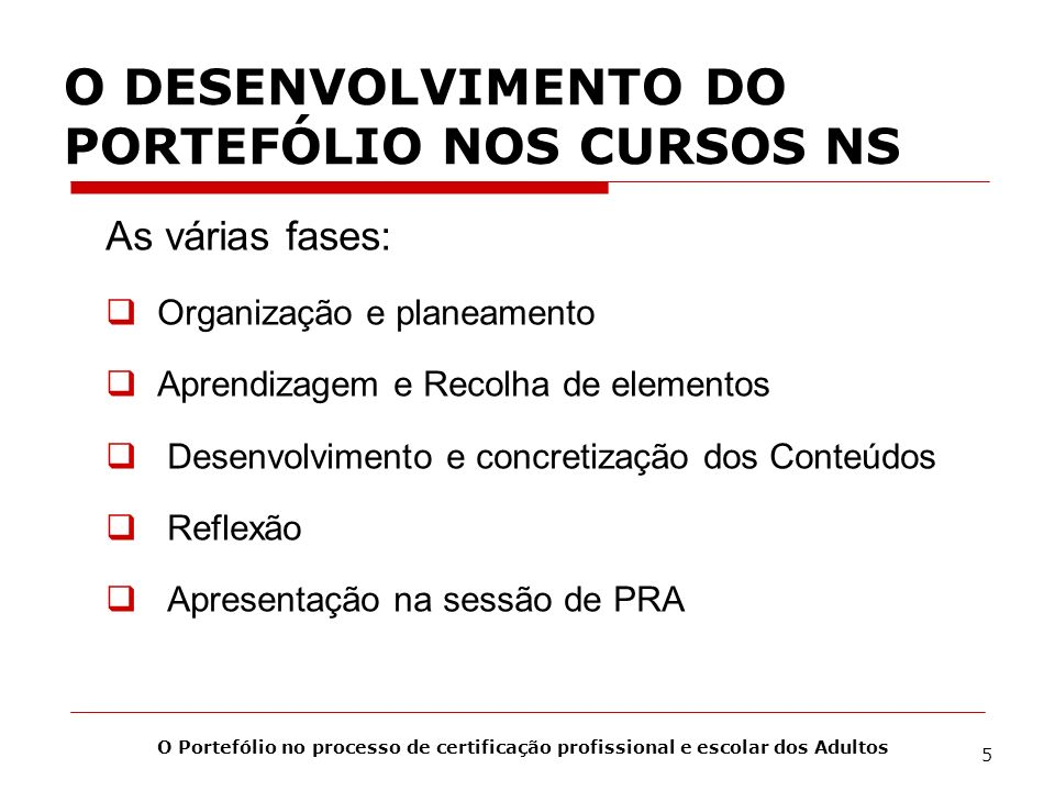 O DESENVOLVIMENTO DO PORTEFÓLIO NOS CURSOS NS