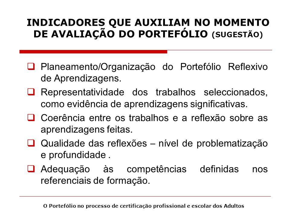 Planeamento/Organização do Portefólio Reflexivo de Aprendizagens.