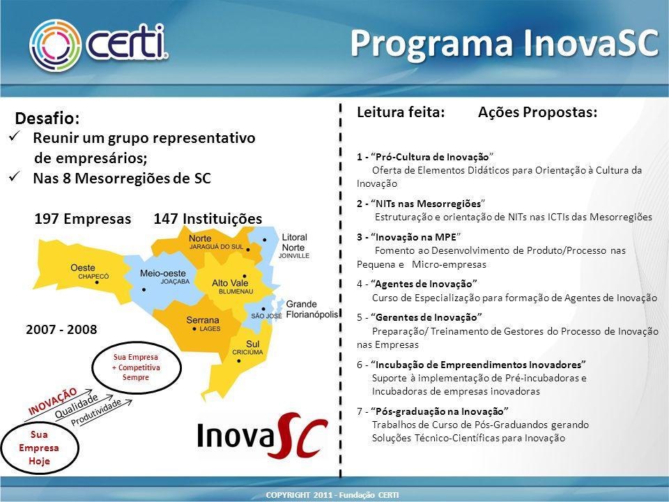 Programa InovaSC Desafio: Leitura feita: Ações Propostas: