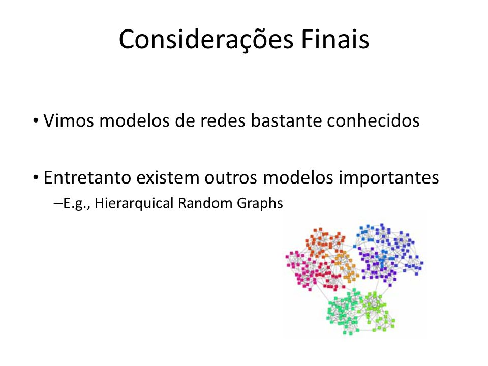 Considerações Finais Vimos modelos de redes bastante conhecidos