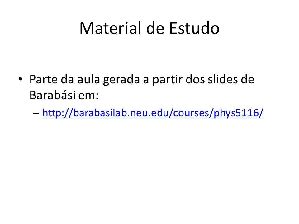 Material de Estudo Parte da aula gerada a partir dos slides de Barabási em: http://barabasilab.neu.edu/courses/phys5116/