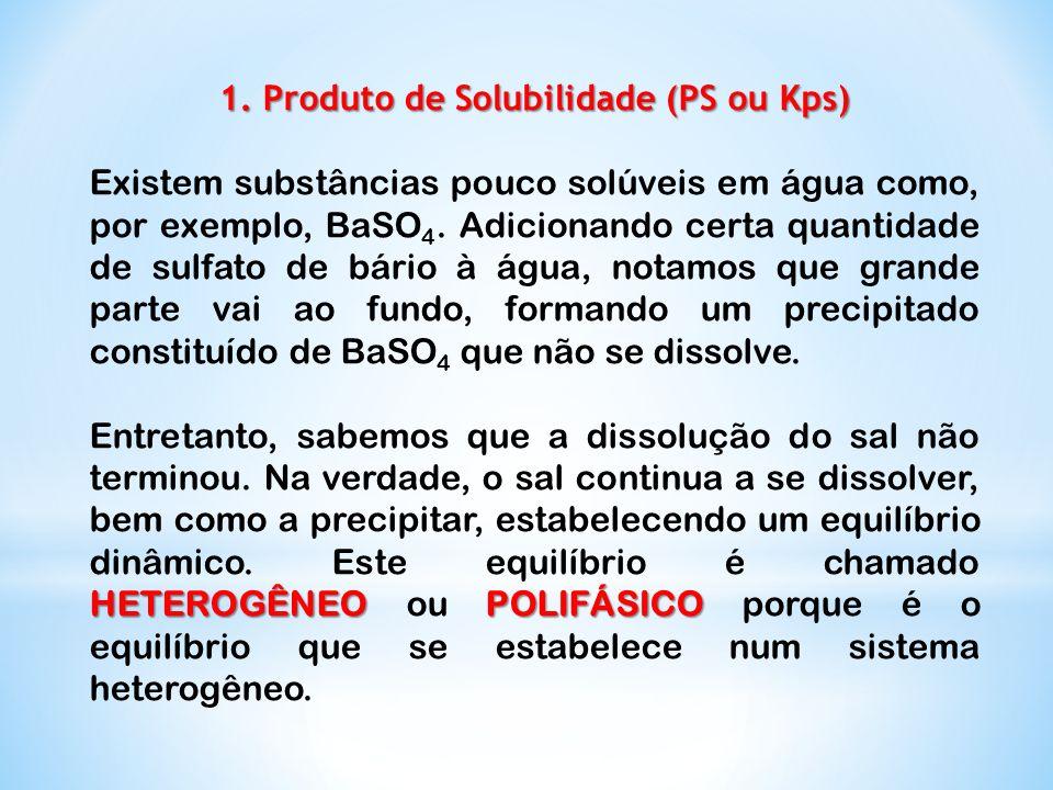 1. Produto de Solubilidade (PS ou Kps)