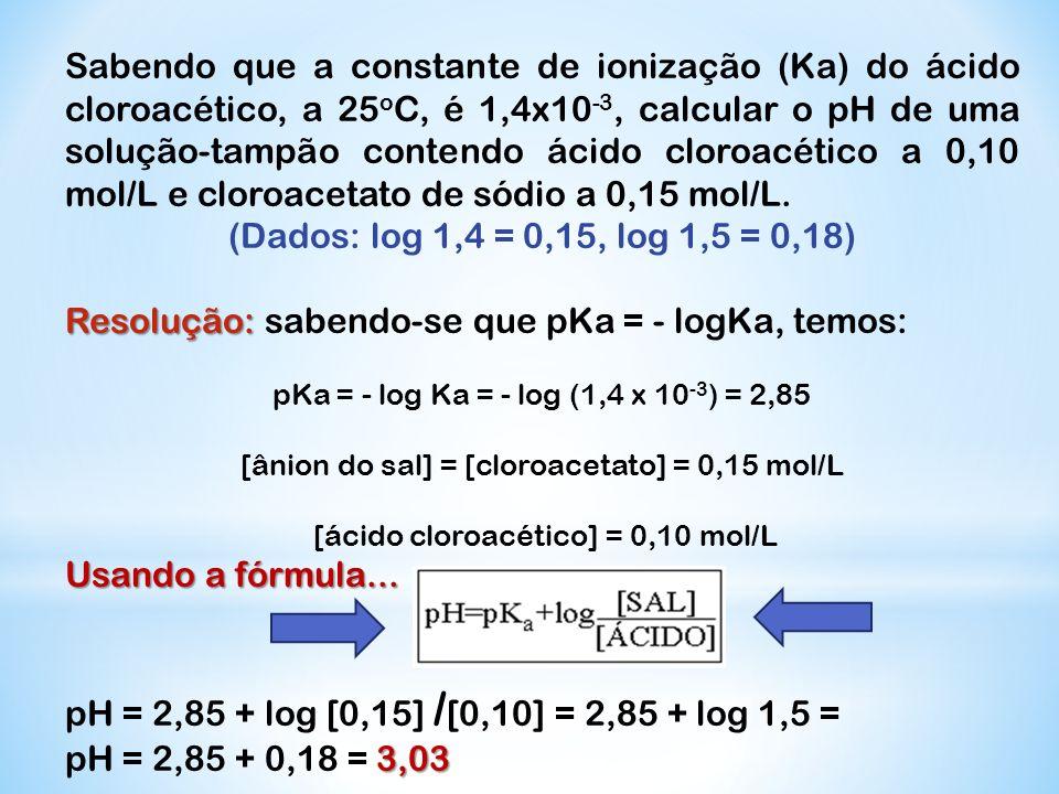 Resolução: sabendo-se que pKa = - logKa, temos: