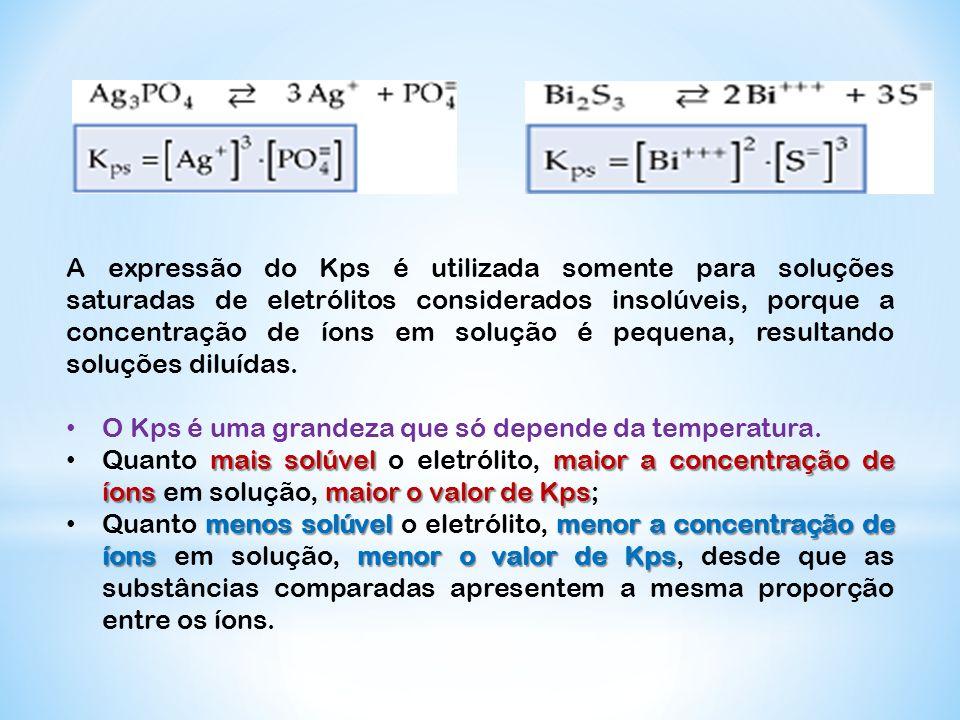 A expressão do Kps é utilizada somente para soluções saturadas de eletrólitos considerados insolúveis, porque a concentração de íons em solução é pequena, resultando soluções diluídas.