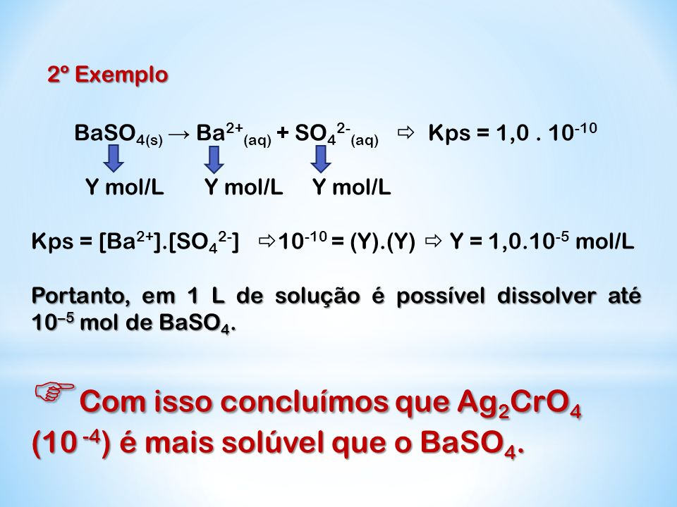 BaSO4(s) → Ba2+(aq) + SO42-(aq)  Kps = 1,0 . 10-10