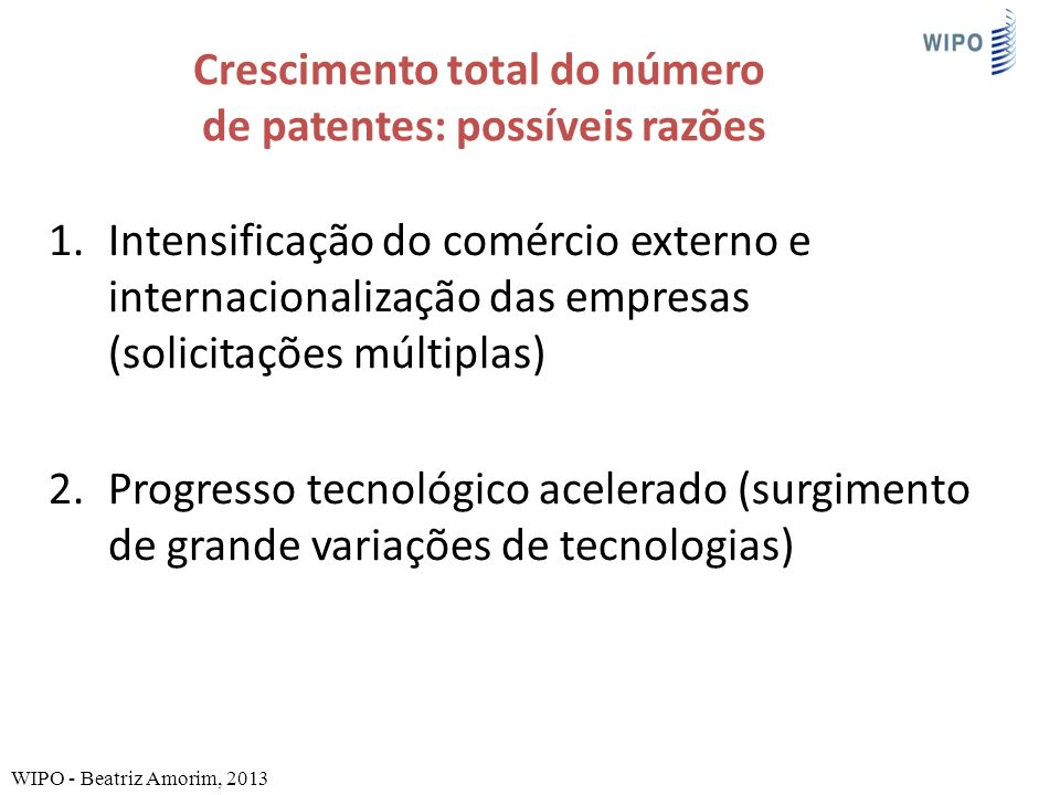 Crescimento total do número de patentes: possíveis razões