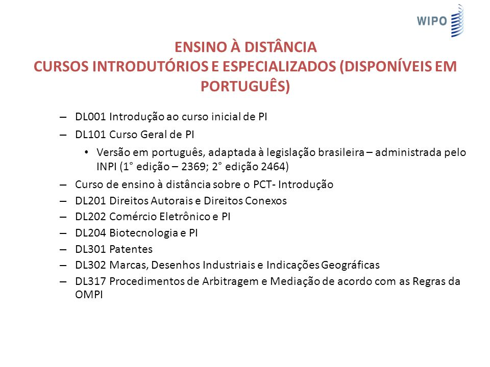 Ensino à Distância Cursos Introdutórios e especializados (disponíveis em português)