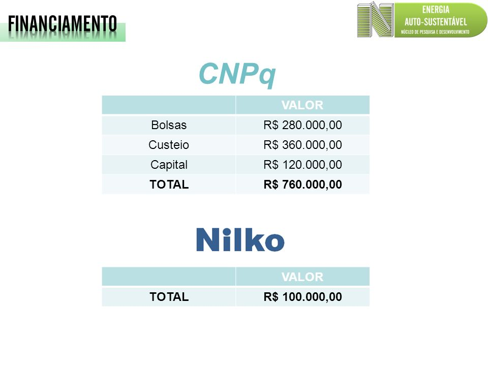 CNPq FINANCIAMENTO VALOR Bolsas R$ 280.000,00 Custeio R$ 360.000,00