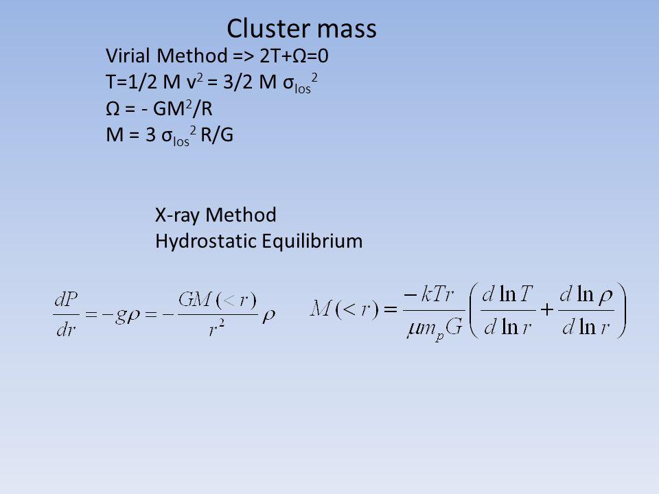 Cluster mass Virial Method => 2T+Ω=0 T=1/2 M v2 = 3/2 M σlos2