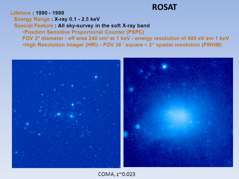 ROSAT Lifetime : 1990 - 1999 Energy Range : X-ray 0.1 - 2.5 keV Special Feature : All sky-survey in the soft X-ray band.