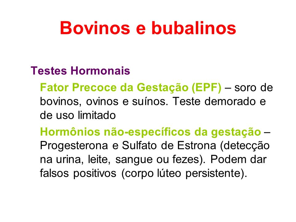 Bovinos e bubalinos Testes Hormonais