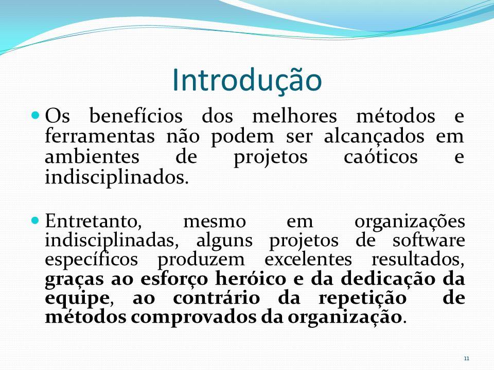 Introdução Os benefícios dos melhores métodos e ferramentas não podem ser alcançados em ambientes de projetos caóticos e indisciplinados.