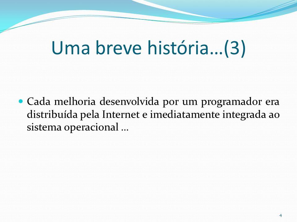 Uma breve história…(3) Cada melhoria desenvolvida por um programador era distribuída pela Internet e imediatamente integrada ao sistema operacional …