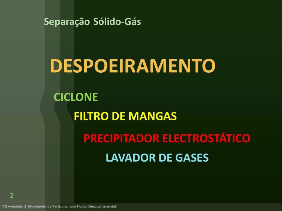 DESPOEIRAMENTO CICLONE FILTRO DE MANGAS PRECIPITADOR ELECTROSTÁTICO
