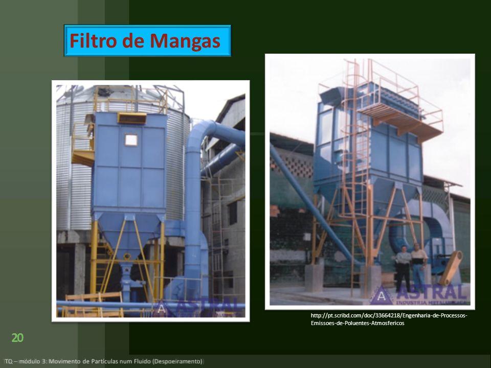 Filtro de Mangas http://pt.scribd.com/doc/33664218/Engenharia-de-Processos-Emissoes-de-Poluentes-Atmosfericos.