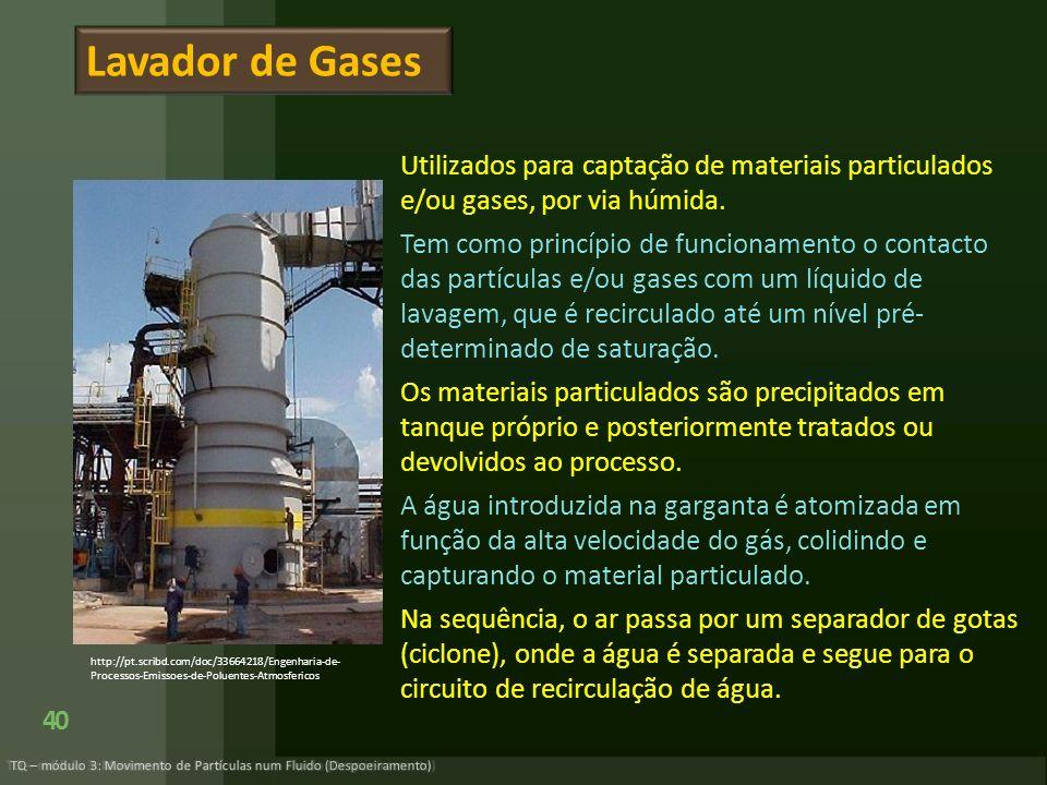 Lavador de Gases Utilizados para captação de materiais particulados e/ou gases, por via húmida.