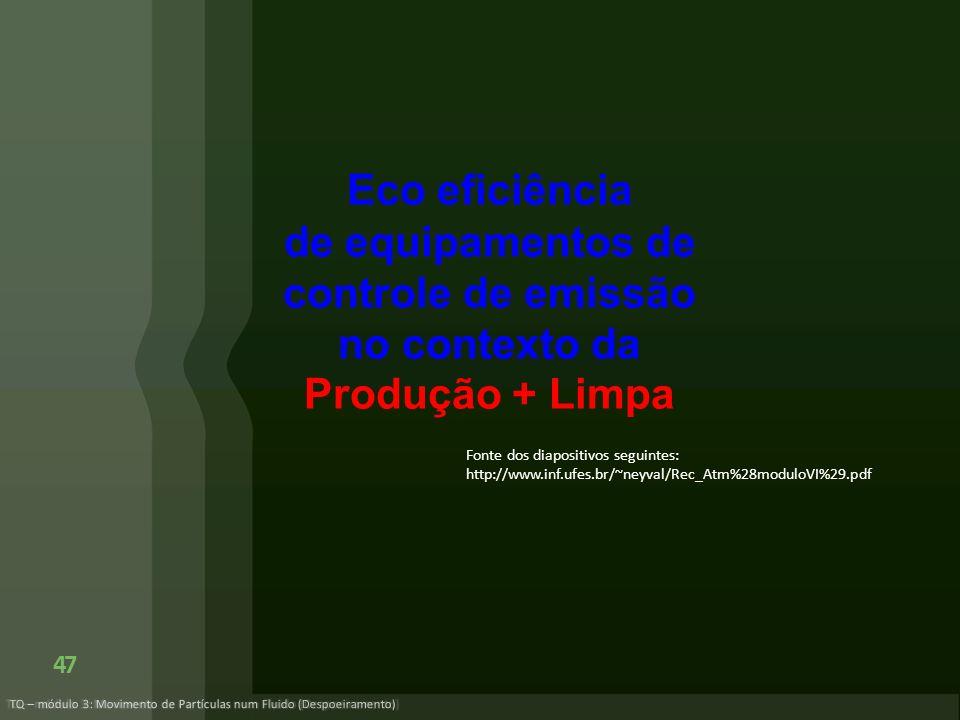 Eco eficiência de equipamentos de controle de emissão no contexto da Produção + Limpa