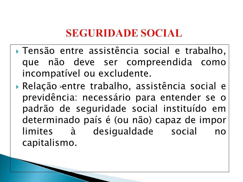 SEGURIDADE SOCIAL Tensão entre assistência social e trabalho, que não deve ser compreendida como incompatível ou excludente.