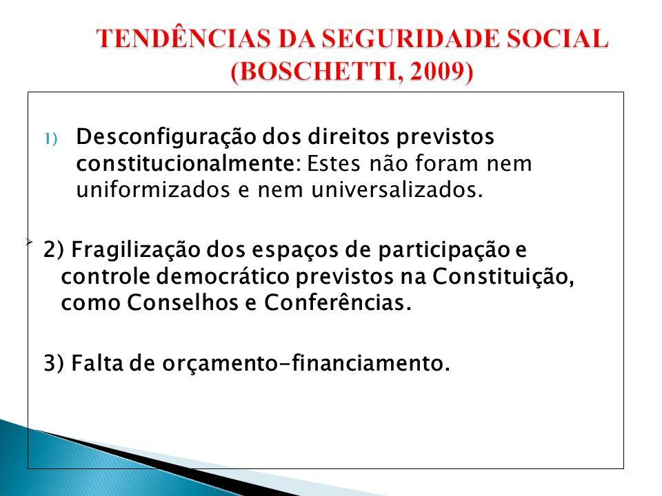 TENDÊNCIAS DA SEGURIDADE SOCIAL (BOSCHETTI, 2009)