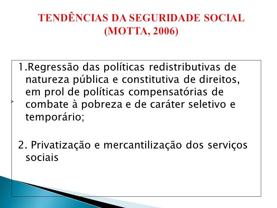 TENDÊNCIAS DA SEGURIDADE SOCIAL (MOTTA, 2006)