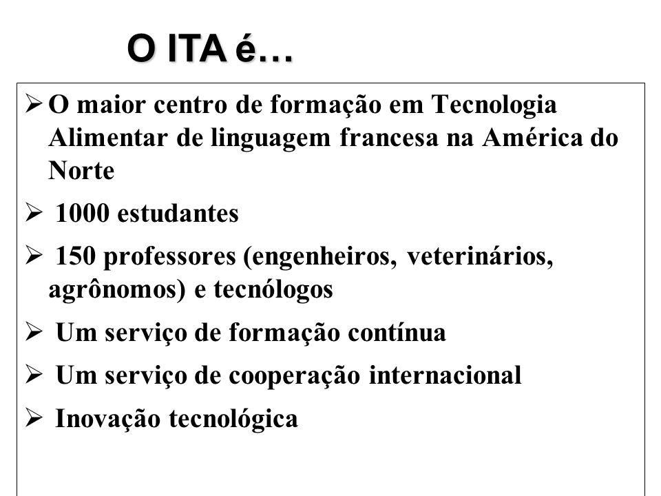 O ITA é… O maior centro de formação em Tecnologia Alimentar de linguagem francesa na América do Norte.