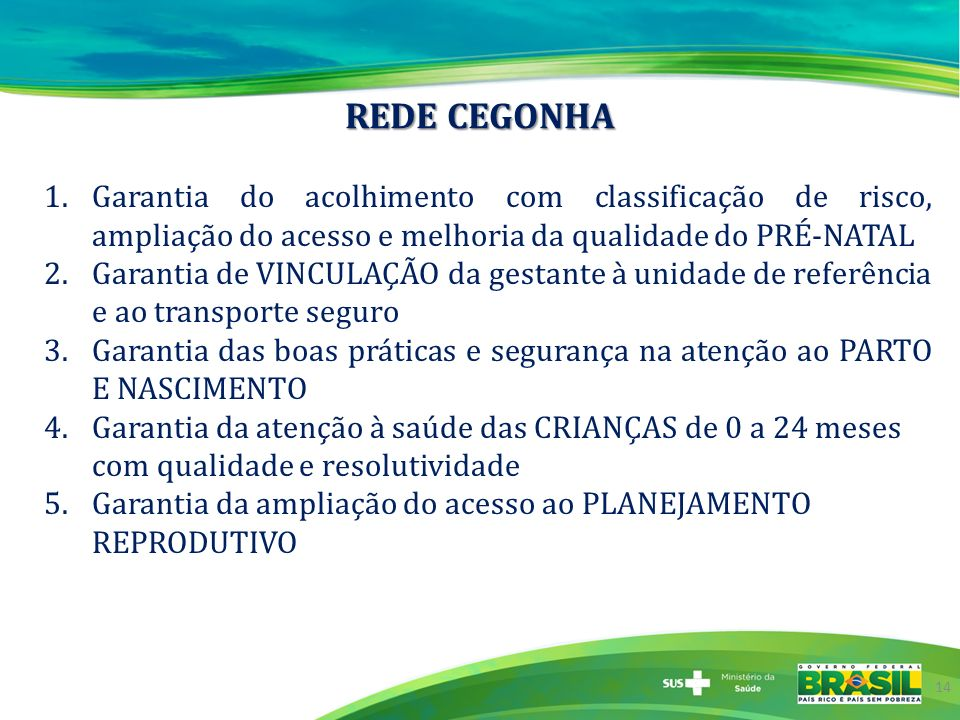 REDE CEGONHA Garantia do acolhimento com classificação de risco, ampliação do acesso e melhoria da qualidade do PRÉ-NATAL.
