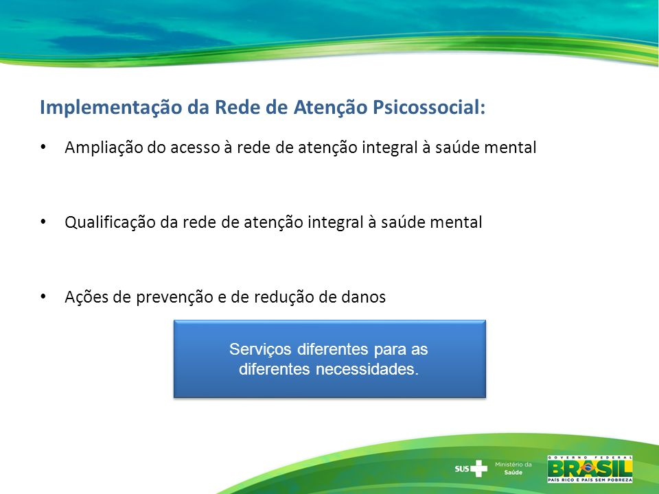 Implementação da Rede de Atenção Psicossocial: