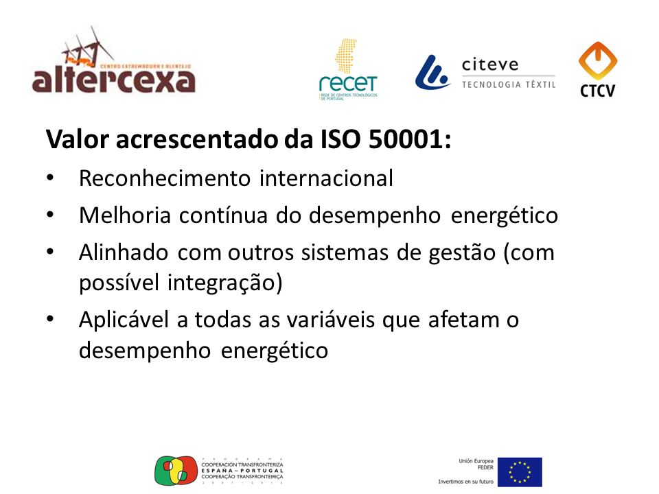 Valor acrescentado da ISO 50001: