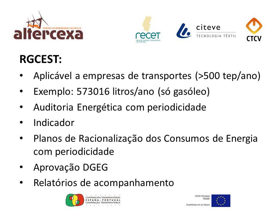 RGCEST: Aplicável a empresas de transportes (>500 tep/ano)