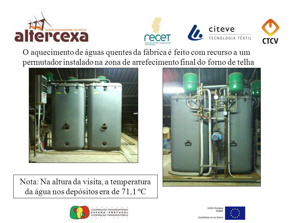 O aquecimento de águas quentes da fábrica é feito com recurso a um permutador instalado na zona de arrefecimento final do forno de telha